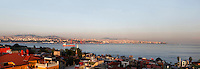 Panoramic view of the entrance of the Bosphorus from Sultanamhet, on the European side, Istanbul, Turkey, in the evening sunshine. Opposite the Asian side of Istanbul may be seen. Picture by Manuel Cohen.