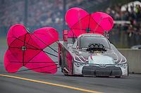 Oct 2, 2016; Mohnton, PA, USA; NHRA funny car driver Alexis DeJoria during the Dodge Nationals at Maple Grove Raceway. Mandatory Credit: Mark J. Rebilas-USA TODAY Sports