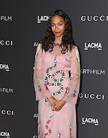 LOS ANGELES, CA - OCTOBER 29: Zoe Saldana attends the 2016 LACMA Art + Film Gala honoring Robert Irwin and Kathryn Bigelow presented by Gucci at LACMA on October 29, 2016 in Los Angeles, California. (Credit: Parisa Afsahi/MediaPunch).