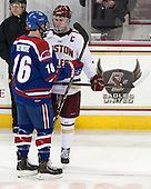 Riley Wetmore (UML - 16), Pat Mullane (BC - 11) - The University of Massachusetts Lowell River Hawks defeated the Boston College Eagles 4-2 (EN) on Tuesday, February 26, 2013, at Kelley Rink in Conte Forum in Chestnut Hill, Massachusetts.