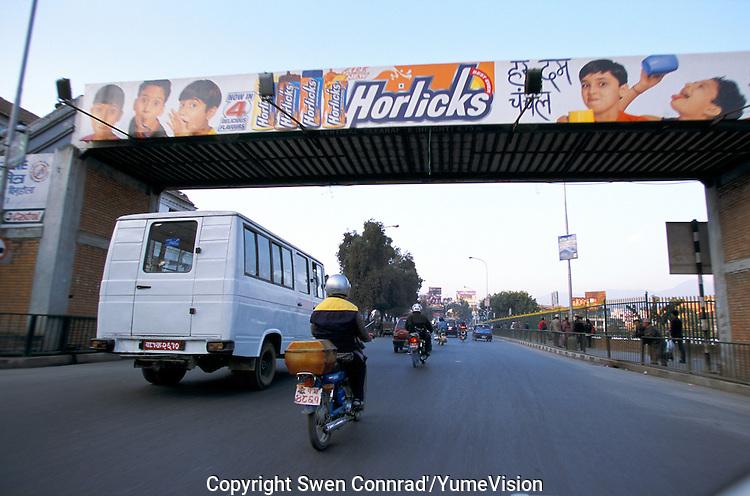 Horliks advertising on Kantipath road in Kathmandu City, Nepal