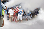 01 September 2012: UNC's Dan Mastromatteo (47) waits to lead his teammates onto the field. The University of North Carolina Tar Heels played the Elon University Phoenix at Kenan Memorial Stadium in Chapel Hill, North Carolina in a 2012 NCAA Division I Football game. UNC won the game 62-0.