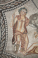 Bacchus, from the Roman mosaic of the god Bacchus encountering the sleeping Ariadne from the House of the Knight, 1st century AD, Volubilis, Northern Morocco. Volubilis was founded in the 3rd century BC by the Phoenicians and was a Roman settlement from the 1st century AD. Volubilis was a thriving Roman olive growing town until 280 AD and was settled until the 11th century. The buildings were largely destroyed by an earthquake in the 18th century and have since been excavated and partly restored. Volubilis was listed as a UNESCO World Heritage Site in 1997. Picture by Manuel Cohen