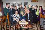 Johanna Griffin seated front centre from Knightstown celebrated her 100th birthday with family and friends on Saturday in the Royal Hotel, Valentia, pictured here front l-r; Christine Cahill, Johanna Griffin, John Griffin, back l-r; Liam, John, Conor & Brian Cahill, with Nicola Sisk, Peter Cahill, Maura Griffin, Margaret Hartnett & Mary Angela O'Sullivan.
