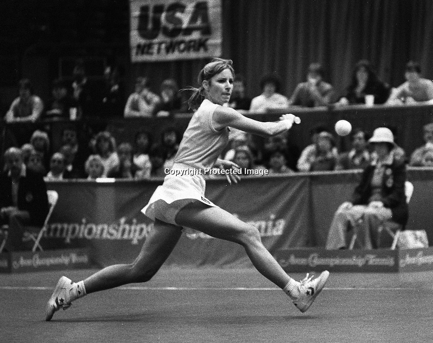 Tennis star Chris Evert returns serve. (1982 photo by Ron Riesterer)