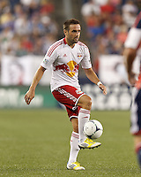 New York Red Bulls defender Brandon Barklage (25) volley pass. In a Major League Soccer (MLS) match, New England Revolution defeated New York Red Bulls, 2-0, at Gillette Stadium on July 8, 2012.