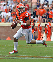 Virginia Cavaliers quarterback Michael Rocco (16) runs with the ball during the second half of an NCAA football game against the Richmond Spiders Saturday September, 1, 2012 at Scott Stadium in Charlottesville, Va. Virginia defeated Richmond 43-19.