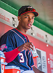 23 May 2015: Washington Nationals outfielder Michael Taylor sits in the dugout as he prepares to face the Philadelphia Phillies at Nationals Park in Washington, DC. The Phillies defeated the Nationals 8-1 in the second game of their 3-game weekend series. Mandatory Credit: Ed Wolfstein Photo *** RAW (NEF) Image File Available ***