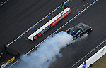 Jan. 21, 2012; Jupiter, FL, USA: Aerial view of NHRA funny car driver Jeff Arend during testing at the PRO Winter Warmup at Palm Beach International Raceway. Mandatory Credit: Mark J. Rebilas-