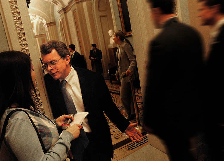 Sen. Mike DeWine, R-Oh., is interviewed by the press during the Senate luncheons in the Capitol.