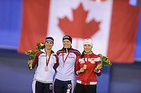 SPEEDSKATING: CALGARY: 14-11-2015, Olympic Oval, ISU World Cup, Podium Ladies 1000m, Brittany Bowe (USA), Heather Richardson (USA), Hong Zhang (CHN), ©foto Martin de Jong