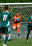 1 September 2009: University of Vermont Catamount goalkeeper Tom Critz, a Senior from Enfield, CT, makes a save against the Siena College Saints at Centennial Field in Burlington, Vermont. The Saints edged out the Catamounts 1-0. Mandatory Photo Credit: Ed Wolfstein Photo