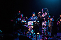 Amayo sings to the crowd during the Antibalas performance at Union Transfer in Philadelphia on December 13, 2012.