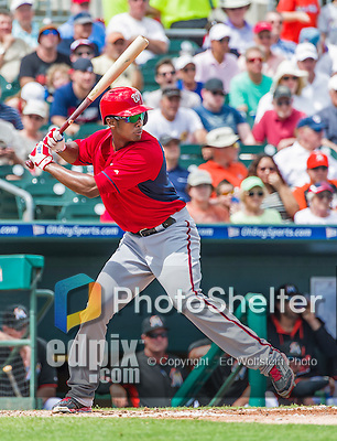 10 March 2015: Washington Nationals outfielder Michael Taylor in Spring Training action against the Miami Marlins at Roger Dean Stadium in Jupiter, Florida. The Marlins edged out the Nationals 2-1 on a walk-off solo home run in the 9th inning of Grapefruit League play. Mandatory Credit: Ed Wolfstein Photo *** RAW (NEF) Image File Available ***