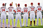 25 February 2011: Washington Nationals' first round draft picks (left to right) Chris Marrero, Ryan Zimmerman,  Bryce Harper, Drew Storen, Stephen Strasburg and Ross Detwiler pose for a Photo Day image at Space Coast Stadium in Viera, Florida. Mandatory Credit: Ed Wolfstein Photo