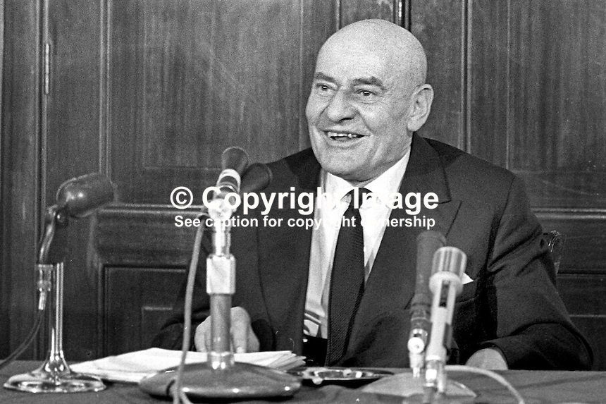 Sir John Mallabar, chairman, Harland &amp; Wolff, shipbuilders, Belfast, N Ireland, gives Press Conference, April 1970. 197004000126a.<br /> <br /> Copyright Image from Victor Patterson,<br /> 54 Dorchester Park, Belfast, UK, BT9 6RJ<br /> <br /> t1: +44 28 90661296<br /> t2: +44 28 90022446<br /> m: +44 7802 353836<br /> <br /> e1: victorpatterson@me.com<br /> e2: victorpatterson@gmail.com<br /> <br /> For my Terms and Conditions of Use go to<br /> www.victorpatterson.com