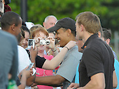 Kailua, Hawaii - December 29, 2008 -- United States President-elect Barack Obama greets well wishers after his morning workout at the Semper Fit Center gym at Marine Corps Base Hawaii at Kaneohe Bay in Kailua, Hawaii on Monday, December 29, 2008. Obama and his family arrived in his native Hawaii December 20 for the Christmas holiday..Credit: Joaquin Siopack - Pool via CNP