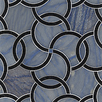Coco, a stone water jet mosaic, shown in Nero Marquina and Blue Macauba, is part of the Ann Sacks Beau Monde collection sold exclusively at www.annsacks.com