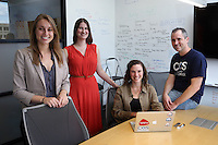 From left, project coordinator Mallory Kidwell, statistical consultant Courtney Soderberg, project coordinator Johanna Cohoon and executive director Brian Nosek make up the team who administered the Responsibility Project at the Center for Open Science located in Charlottesville, Va.  Photo/Andrew Shurtleff