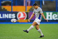 Ben Tapuai of Bath Rugby in action during the pre-match warm-up. European Rugby Challenge Cup match, between Cardiff Blues and Bath Rugby on December 10, 2016 at the Cardiff Arms Park in Cardiff, Wales. Photo by: Patrick Khachfe / Onside Images