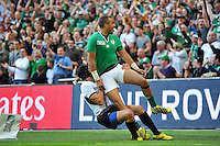 Simon Zebo of Ireland celebrates crossing the try-line but the score is soon ruled out by the referee. Rugby World Cup Pool D match between Ireland and Romania on September 27, 2015 at Wembley Stadium in London, England. Photo by: Patrick Khachfe / Onside Images