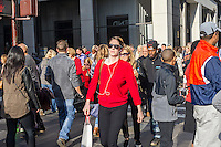 Hordes of shoppers in Midtown Manhattan in New York on Sunday, December 13, 2015. The streets of New York are filled with shoppers and tourists with less than two weeks to Christmas. (© Richard B. Levine)