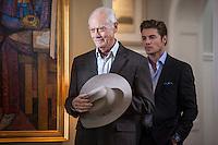 Larry Hagman and Josh Henderson in the Living Room of Sue Ellen's house in TNT's 'Dallas'