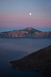 Moon over Crater Lake after sunset