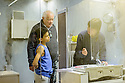 London, UK. 02.06.2015. Dudley Sutton and Mitchell Jelley listen to director Lu Kemp, during rehearsals for HAVE YOUR CIRCUMSTANCES CHANGED? in the former FADS shop, Archway. Photograph © Jane Hobson.
