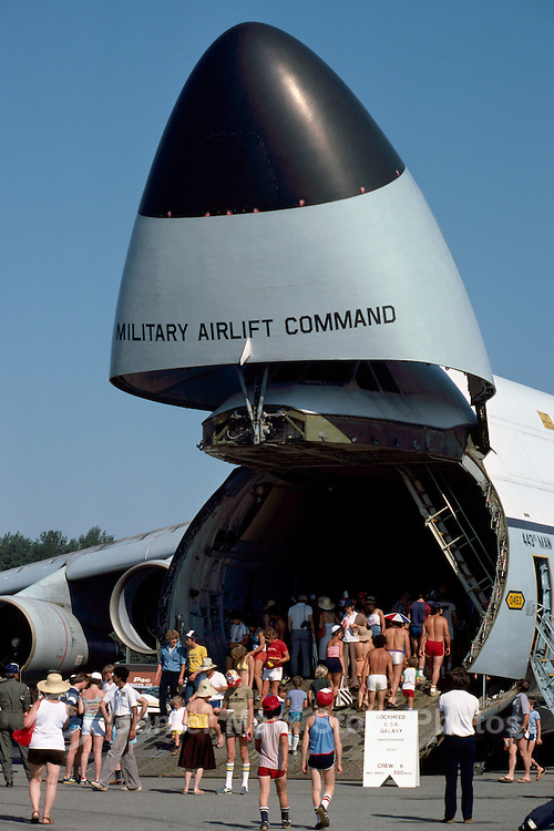US Air Force Lockheed C-5A Galaxy Military Cargo Transport Aircraft with Open Nose, on Static Display - at Abbotsford International Airshow, BC, British Columbia, Canada