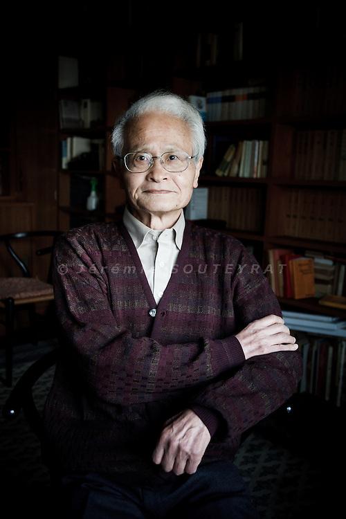 Tokyo, February 13 2012 - Portrait of the Japanese writer Yoshikichi Furui in his apartment.