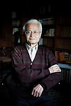 Tokyo, February 13 2012 - Portrait of the Japanese writer Yoshikichi Furui in his apartment.