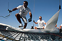 Extreme Sailing Series 2011. Leg 1. Muscat. Oman.Oman Air EX40 team training bowman Nasser Al Mashari and trimer David Carr