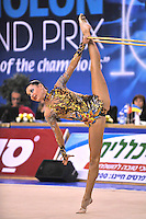 Ulyana Trofimova of Uzbekistan performs with hoop during Event Finals at Holon Grand Prix, Israel on March 5, 2011.  (Photo by Tom Theobald).
