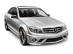 2011 silver Mercedes-Benz C63 AMG C-class sedan Affalterbach edition. Isolated car on white background with clipping path