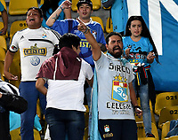 BOGOTA - COLOMBIA – 16 – 03 - 2017: Hinchas de Sporting Cristal, animan a su equipo durante partido entre Independiente Santa Fe de Colombia y Sporting Cristal de Peru, de la fase de grupos, grupo 2, fecha 2 por la Copa Conmebol Libertadores Bridgestone 2017, en el estadio Nemesio Camacho El Campin, de la ciudad de Bogota. / Fans of Sporting Cristal, cheer for their team during a match between Independiente Santa Fe of Colombia and Sporting Cristal of Peru, of the group stage, group 2 of the date 2, for the Conmebol Copa Libertadores Bridgestone 2017 at the Nemesio Camacho El Campin in Bogota city. VizzorImage / Luis Ramirez / Staff.