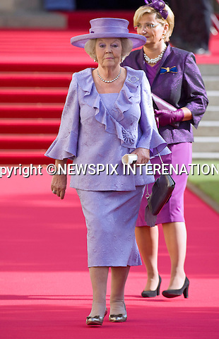 """QUEEN BEATRIX OF THE NETHERLANDS.Religious Wedding Ceremony of HRH the Hereditary Grand Duke and Countess Stéphanie de Lannoy at Cathedral of Our lady of Luxembourg, Luxembourg_20-10-2012.Mandatory credit photo: ©Dias/NEWSPIX INTERNATIONAL..(Failure to credit will incur a surcharge of 100% of reproduction fees)..                **ALL FEES PAYABLE TO: """"NEWSPIX INTERNATIONAL""""**..IMMEDIATE CONFIRMATION OF USAGE REQUIRED:.Newspix International, 31 Chinnery Hill, Bishop's Stortford, ENGLAND CM23 3PS.Tel:+441279 324672  ; Fax: +441279656877.Mobile:  07775681153.e-mail: info@newspixinternational.co.uk"""