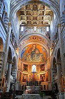 Medieval Byzantine style mosaics of Christ in the interior of the Duomo, Pisa, Italy