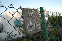 No Bicycle wood sign in La Mola, Formentera