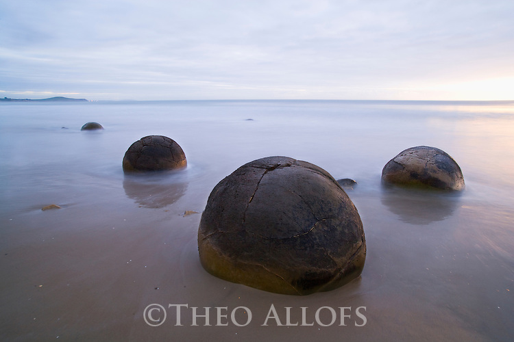 Moeraki Boulders at sunrise,  New Zealand, South Island