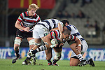 Matt Talaese is taken to ground in the tackle of Josh Townsend and Charlie Faumuina.  ITM Cup Round 7 rugby game between Auckland and Counties Manukau, played at Eden Park, Auckland on Thursday August 11th..Auckland won 25 - 22.