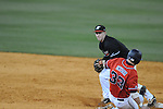 Ole Miss' Matt Snyder (33) is forced at second by Austin Peay's Jordan Hankins at Oxford-University Stadium in Oxford, Miss. on Wednesday, March 2, 2010.