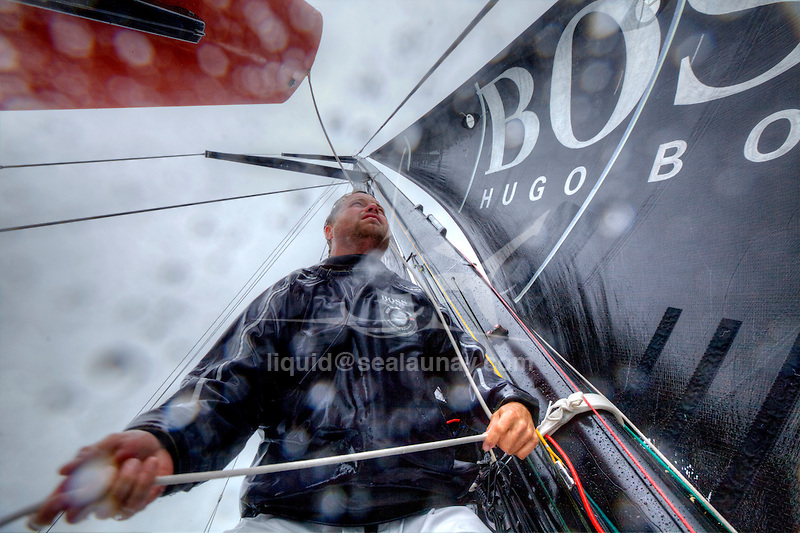 Onboard the IMOCA Open 60 Alex Thomson Racing Hugo Boss during a training session before the Vend&eacute;e Globe..The Vend&eacute;e Globe is a round-the-world single-handed yacht race, sailed non-stop and without assistance.
