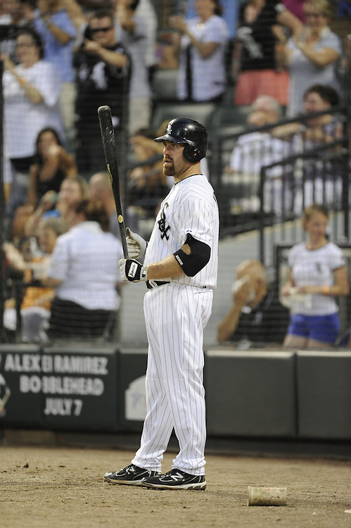 CHICAGO - JULY 06:  Kevin Youkilis #20 of the Chicago White Sox looks on from the on-deck circle against the Toronto Blue Jays on July 6, 2012 at U.S. Cellular Field in Chicago, Illinois.  The White Sox defeated the Blue Jays 4-2.  (Photo by Ron Vesely)  Subject:  Kevin Youkilis