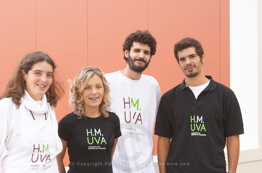 Winery workers and Sofia Uva, daughter of Henrique. Henrque HM Uva, Herdade da Mingorra, Alentejo, Portugal