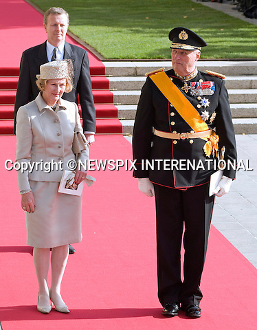 """KING HARALD AND QUEEN SONJA OF NORWAY.Religious Wedding Ceremony of HRH the Hereditary Grand Duke and Countess Stéphanie de Lannoy at Cathedral of Our lady of Luxembourg, Luxembourg_20-10-2012.Mandatory credit photo: ©Dias/NEWSPIX INTERNATIONAL..(Failure to credit will incur a surcharge of 100% of reproduction fees)..                **ALL FEES PAYABLE TO: """"NEWSPIX INTERNATIONAL""""**..IMMEDIATE CONFIRMATION OF USAGE REQUIRED:.Newspix International, 31 Chinnery Hill, Bishop's Stortford, ENGLAND CM23 3PS.Tel:+441279 324672  ; Fax: +441279656877.Mobile:  07775681153.e-mail: info@newspixinternational.co.uk"""