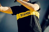 appropriate shirt for the morning podium announcer<br /> <br /> 101th Ronde Van Vlaanderen 2017 (1.UWT)<br /> 1day race: Antwerp &rsaquo; Oudenaarde - BEL (260km)