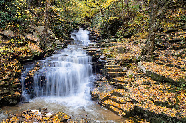 The picture of this waterfall in the Pennsylvania mountains was taken during a light autumn rain to make the colors saturate and have more water in the flow of the stream. This type of waterfall is known as a wedding cake falls because of the many even level layers. Looking closely, you will find a set of stone steps coming out the pooling water at the bottom, which lead to a trail that can be seen going up the mountain.<br /> <br /> This Pennsylvania State Park known as Trough Creek also has a large balanced rock and a long rope swinging bridge on the same trail as these falls, and some nearby ice caves that are frozen even in summer. Visit and see this scenic and very woodsy park near Huntingdon PA for yourself sometime.