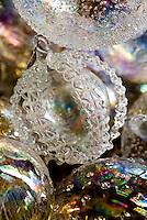 Detail of a glass bauble with an intricate design