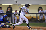 Ole Miss' Matt Tracy (29) drives in Blake Newalu with the second run of the game at Oxford-University Stadium in Oxford, Miss. on Friday, April 15, 2011. Ole Miss won 3-2.